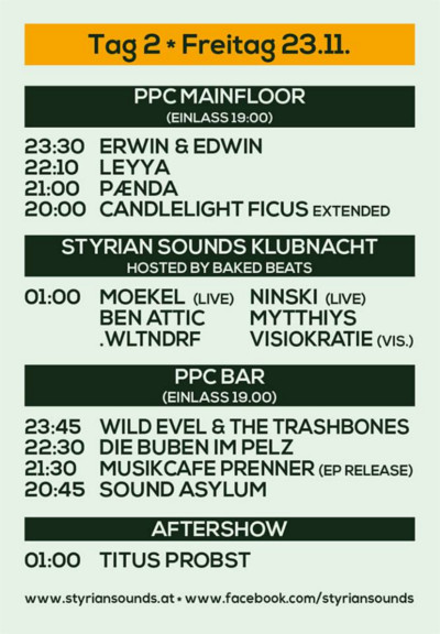 Styrian Sounds 2018 - Timetable Freitag